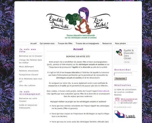 Page d'accueil du site Zéro cliché!