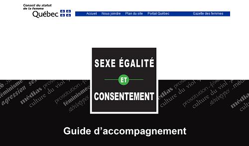 Site du Conseil du statut de la femme sur la page Sexe, égalité et consentement : guide d'accompagnement.
