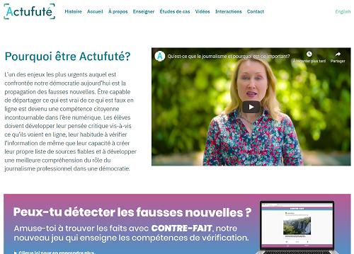Page d'accueil du site Web Actufuté.